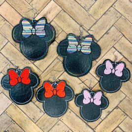 Girl Mouse Head Silhouette Earrings – 3 Sizes, Embroidery Design, Digital File