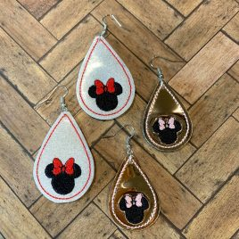 Teardrop Girl Mouse Silhouette Earrings – 2 Sizes, Embroidery Design, Digital File