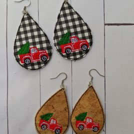 Red Truck Teardrop Earrings – 2 Sizes, Embroidery Design, Digital File