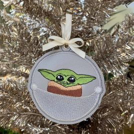 Baby Jedi Master Ornament, Embroidery Design, Digital File