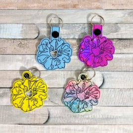 Scrunchie, Keyfobs, 2 Styles included, Embroidery Design, Digital File