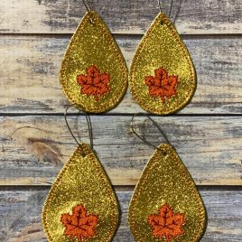 Maple Leaf Teardrop Earrings/Felties – 2 Sizes, Embroidery Design, Digital File
