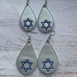 Star of David Teardrop Earrings/Felties – 2 Sizes, Embroidery Design, Digital File