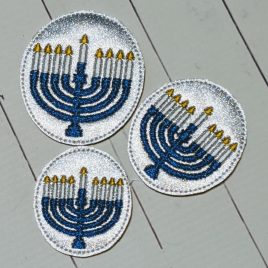 Circle Menorah Earrings – Felties – 3 Sizes, Embroidery Design, Digital File