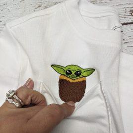 Baby Jedi Master Peeker Pocket, ITH, Applique, Satin Stitches, Embroidery Design, Digital File