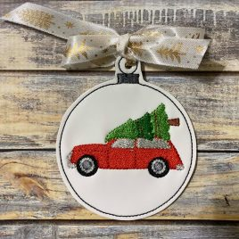 Station Wagon Bauble Ornament, Embroidery Design, Digital File