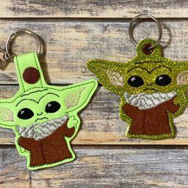 Standing Baby Jedi Master, Keyfobs, Embroidery Design, Digital File