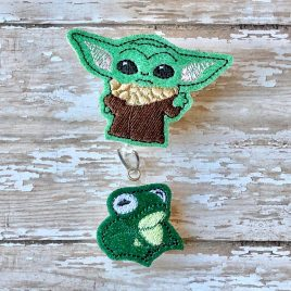 Baby Jedi Master Standing, Felties, Bonus Frog feltie, Embroidery Design, Digital File