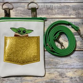 Pocket Jedi Master Zipper Bag, Embroidery Design, Digital File