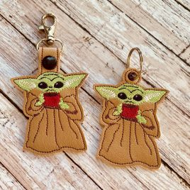 Baby Jedi Master And Sippy Cup, Keyfobs, Embroidery Design, Digital File