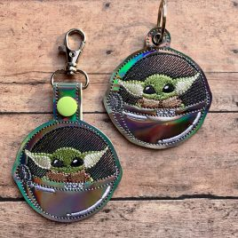 Baby Jedi Master in Pod, Keyfobs, Embroidery Design, Digital File