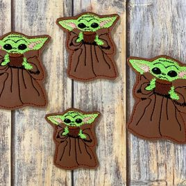 Baby Jedi Master with Soup, Felties, 4 Sizes, Embroidery Design, Digital File