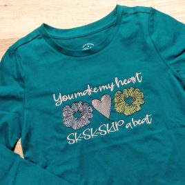 VSCO You Make My Heart SK SK SKIP a Beat, Satin Stitches, Embroidery Design, Digital File