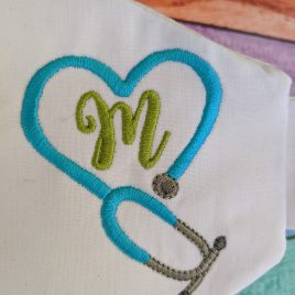 Stethoscope Heart Frame, Satin Style, Embroidery Design, Digital File