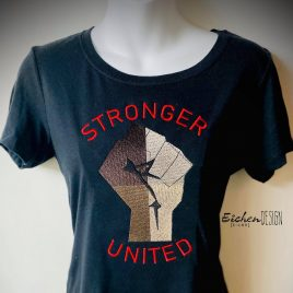 Stronger United, Fist, Sketch, Satin Stitches, Embroidery Design, Digital File