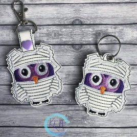 Mummy Owl, Keyfobs, Embroidery Design, Digital File