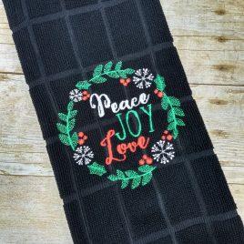 Peace Joy Love Wreath, Sketch, Embroidery Design, Digital File