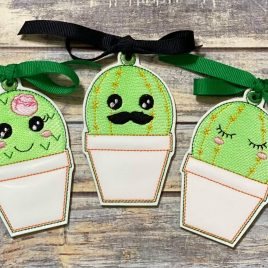 Kawaii Cactus Ornament Set, Embroidery Design, Digital File