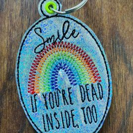 Smile If You're Dead Inside, Keyfobs, Embroidery Design, Digital File