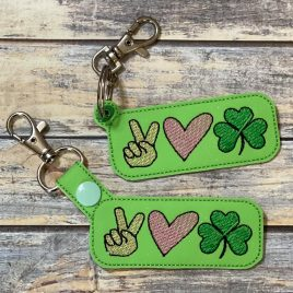 Peace Love Shamrock, Keyfobs, Embroidery Design, Digital File