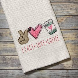 Peace Love Coffee, Applique, Embroidery Design, Digital File