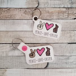 Peace Love Easter, Keyfobs, Embroidery Design, Digital File