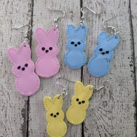 Marshmallow Bunnies, Earrings, Felties – 3 Sizes, Embroidery Design, Digital File