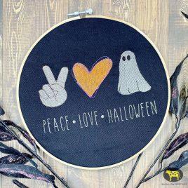 Peace Love Halloween, Sketch, Embroidery Design, Digital File